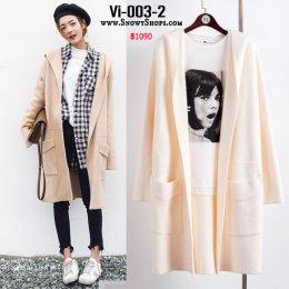 [พร้อมส่ง] [Vi-003-2]  เสื้อคลุมไหมพรมสีครีม มีหมวกฮู้ดและกระเป๋าหน้า ใส่กันหนาวน่ารักมากๆ