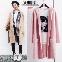 [พร้อมส่ง] [Vi-003-3]  เสื้อคลุมไหมพรมสีชมพู มีหมวกฮู้ดและกระเป๋าหน้า ใส่กันหนาวน่ารักมากๆ