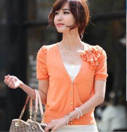 [[*พร้อมส่ง F]] [SZ-3037] SZ++เสื้อคลุม++เสื้อสีส้มคลุมผ้าคาร์ดิแกนแขนสั้น ประดับดอกไม้ด้วยค่ะ