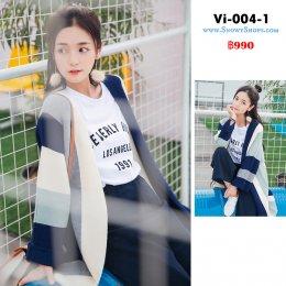 [พร้อมส่ง F] [Vi-004-1]  เสื้อคลุมไหมพรมตัวยาวสีน้ำเงินแถบขาว  ผ้าไหมพรมหนาเนื้อนุ่มแบบยาวกันหนาวอย่างดี