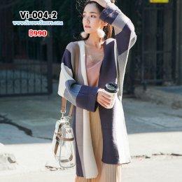 [พร้อมส่ง F] [Vi-004-2]  เสื้อคลุมไหมพรมตัวยาวสีเทาแถบขาวน้ำตาล  ผ้าไหมพรมหนาเนื้อนุ่มแบบยาวกันหนาวอย่างดี