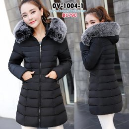 [พร้อมส่ง] [Ov-1004-1] Down Jackets เสื้อโค้ทขนเป็ดสีดำ ผ้าฝ้ายร่มซับขนเป็ดกันหนาวใส่ลุยหิมะ พร้อมขนเฟอร์ถอดได้