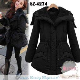[พร้อมส่ง S,M,L,XL] [SZ-4274] เสื้อโค้ทกันหนาวสีดำด้านในบุขนเฟอร์ มีฮึ้ด ใส่กันหนาวสวยมากๆ