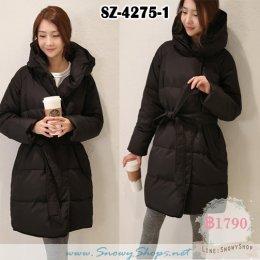 [*พร้อมส่ง S,M,L,XL] [Coat] [SZ-4275-1] เสื้อโค้ทกันหนาวสีดำบุขนเป็ดกันหนาว โค้ทกันหนาวยาวมีหมวกฮู้ด
