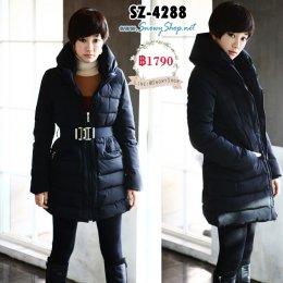 [*พร้อมส่ง M] [SZ-4288] SZ เสื้อโค้ทกันหนาวผ้าฝ้ายร่มสีดำ โค้ชตัวยาวพร้อมเข็มขัดใส่กันหนาวได้ดีค่ะ