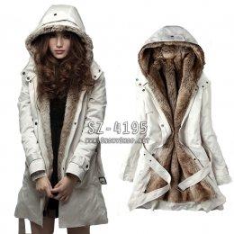 [[*พร้อมส่ง S,XL,2XL,3XL]] [SZ-4195] SZ++เสื้อโค้ทกันหนาว++เสื้อโค้ทกันหนาวสีครีม ซับขนเฟอร์นุ่มด้านใส่กันหนาวได้อย่างดี