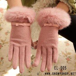 [*พร้อมส่ง] [EL-005] EL++ถุงมือ++ถุงมือกำมะหยี่สีชมพูแต่งขนเฟอร์สวยค่ะ