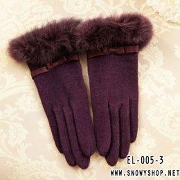 [พร้อมส่ง] [EL-005-3] EL++ถุงมือ++ถุงมือกำมะหยี่สีม่วงแต่งขนเฟอร์สวยค่ะ