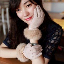 [*พร้อมส่ง] [EL-005-5] EL++ถุงมือ++ถุงมือกำมะหยี่สีครีมแต่งขนเฟอร์สวยค่ะ