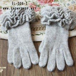 [*พร้อมส่ง] [EL-006-1] EL++ถุงมือ++ถุงมือกันหนาวถักไหมพรมสีเทา