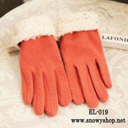 [*พร้อมส่ง] [EL-019] EL++ถุงมือ++ถุงมือกันหนาวสีส้มลายปัก บุนขนกันหนาวด้านในอุ่น