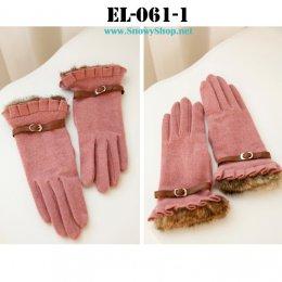 [*พร้อมส่ง] [EL-061-1] EL ถุงมือกันหนาวสีชมพู แต่งขนเฟอร์ข้อมือสวยมากๆ