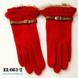 [*พร้อมส่ง] [EL-061-2] EL ถุงมือกันหนาวสีแดง แต่งขนเฟอร์ข้อมือสวยมากๆ
