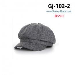 [พร้อมส่ง] [Gj-102-2]  หมวกหมวกวูลสีเทา