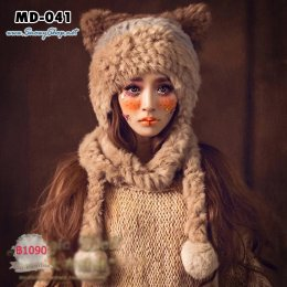 [พร้อมส่ง] [หมวกไหมพรม] [MD-041] Magic Doll หมวกไหมพรมขนเฟอร์หูแมว มีตุ้มยาว ขนนุ่มมากๆ
