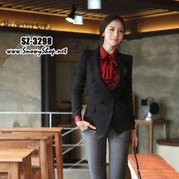 [[*พร้อมส่ง L]] [SZ-3298] SZ เสื้อสูทกันหนาวสีดำแขนยาว ทรงเข้ารูปดีมาก