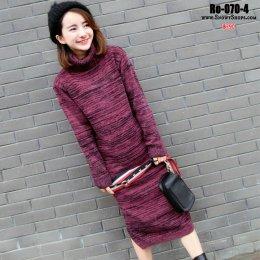 [พร้อมส่ง] [Ro-070-4] เดรสไหมพรมสีแดงผ้าหนานุ่มคอเต่า ตัวยาว ใส่กันหนาวดีมาก