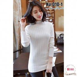 [พร้อมส่ง F] [Xu-010-1] เสื้อไหมพรมคอตัดสีขาว ผ้ายืดลายเส้น แขนยาว ผ้าดีมาก