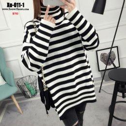 [พร้อมส่ง F] [Xu-011-1]เสื้อไหมพรมคอเต่าลายทางขาวดำ เป็นไหมพรมยาว ผ้าหนามากใส่กันหนาวอุ่น