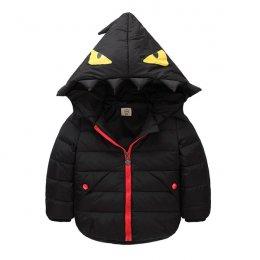 [พร้อมส่ง 100 ] [LP-1003-1] เสื้อโค้ทเด็กสีดำ มีหมวกฮู้ด เป็นโค้ทสั้นซับขนใส่กันหนาว กันฝน ลุยหิมะได้ค่ะ