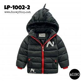 [พร้อมส่ง M,L,XL ] [LP-1002-2] เสื้อโค้ทเด็กสีดำ มีหมวกฮู้ด เป็นโค้ทสั้นซับขนใส่กันหนาว กันฝน ลุยหิมะได้ค่ะ