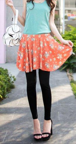 [[*พร้อมส่ง S,M,L,XL]] [OB-030] Orange Bear++กางเกงเลคกิ้ง++กางเกงเลคกิ้งขายาวสีดำติดกับกระโปรงลายดอกสีส้ม