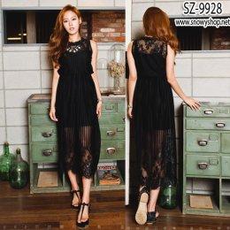 [[*พร้อมส่ง S]] [SZ-9928] SZ Maxi Dress แม๊กซี่เดรสสีดำผ้าลูกไม้ญี่ปุ่นยาว พร้อมด้วยสายเดี่ยว เป็นชุด 2 ชิ้นค่ะ
