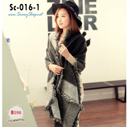 [พร้อมส่ง] [ผ้าพันคอ] [Sc-016-1] Scarf ผ้าพันคอไหมพรมสีดำเทาลาย ผ้าหนานุ่มฟู ปลายระบายใส่กันหนาวอุ่นและสวยมาก