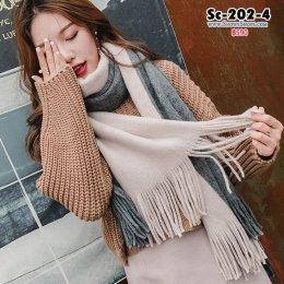 [พร้อมส่ง] [Sc-202-4] Scarf ผ้าพันคอไหมพรมทูโทนสีเทาชมพู ผ้านุ่มอย่างดีค่ะ