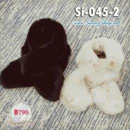 [*พร้อมส่ง] [Si-045-2] ผ้าพันคอขนเฟอร์สีครีมหนานุ่มใส่กันหนาวสวยมากๆ