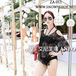 [[พร้อมส่ง]] [ZA-011] ZA++ชุดว่ายน้ำ++Bikini ชุดว่ายน้ำสีดำ ผูกคอหน้าอกเว้าสวย พร้อมเสื้อตาข่ายใส่คลุมค่ะ (ชุด 2 ชิ้น)