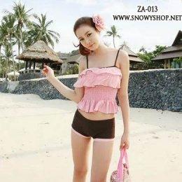 [[พร้อมส่ง]] [ZA-013] ZA++ชุดว่ายน้ำ++Bikini ชุดว่ายน้ำสีชมพูเสื้อระบายสายเดี่ยว กางเกงขาสั้นสีน้ำตาล เข้าชุด