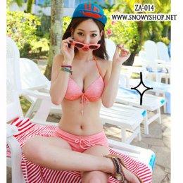 [[พร้อมส่ง]] [ZA-014] ZA++ชุดว่ายน้ำ++Bikini ชุดว่ายน้ำสีส้มลายทางสุดจี๊ด พร้อมเสื้อคลุม (ชุด 3 ชิ้น)