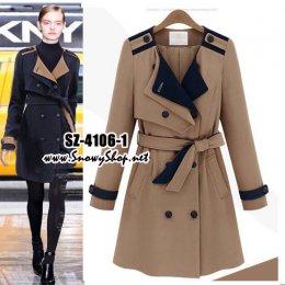 [[*พร้อมส่ง S,M,XL]] [SZ-4106-1] SZ++เสื้อโค้ทกันหนาว++เสื้อโค้ทกันหนาวสีครีม ซับสีครีมด้านใน พร้อมผ้าผูกเอว