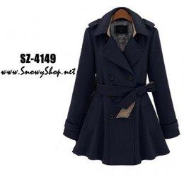 [[*พร้อมส่ง S,M,L,XL,2XL]] [Coat] [SZ-4149]] Shezyy เสื้อโค้ท เสื้อโค้ทกันหนาวสีน้ำเงินสไตล์ยุโรป กระดุมหน้า พร้อมเข็มขัด