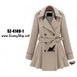 [[*พร้อมส่ง M,L,XL,2XL]] SZ-4149-1 Shezyy เสื้อโค้ท เสื้อโค้ทกันหนาวสีครีมสไตล์ยุโรป กระดุมหน้า พร้อมเข็มขั