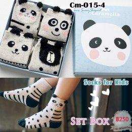 [พร้อมส่ง L(5-8ปี) ] [Cm-015-4] ถุงเท้าเด็กแฟชั่นลายการ์ตูนน่ารัก 4คู่/กล่อง