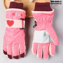 [พร้อมส่ง]  [Kid-G505-3] ถุงมือกันหนาวสีชมพูกลาง  ด้านในซับขนกันหนาว เล่นหิมะได้ (เหมาะสำหรับเด็ก 7-12ขวบ)