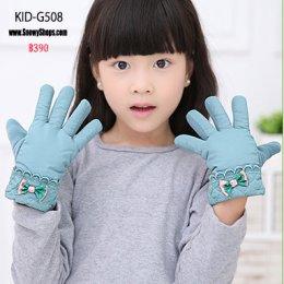 [พร้อมส่ง] [Kid-G508] ถุงมือกันหนาวเด็กเล็กสีเขียวมิ้นแต่งโบว์น่ารัก ใส่กันหนาวเล่นหิมะได้ค่ะ (เหมาะสำหรับเด็ก 2-5ขวบ)