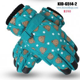 [พร้อมส่ง]  [Kid-G514-2] ถุงมือกันหนาวสีเขียวลายหมี  ด้านในซับขนกันหนาว เล่นหิมะได้ (เหมาะสำหรับเด็ก 7-12ขวบ)