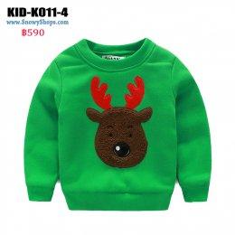 [พร้อมส่ง 80,90,120] [KID-K011-4] เสื้อลองจอนเด็กสีเขียว ลายกวางเรนเดีย  ด้านในเสื้อซับขนกันหนาวใส่ติดลบได้ค่ะ