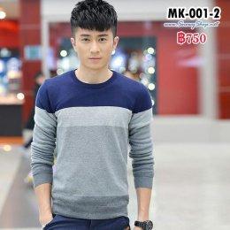 [พร้อมส่ง M,L,XL,2XL,3XL]  [MK-001-2] เสื้อไหมพรมลองจอนผู้ชายสีน้ำเงินเข้มเทาคอกลม ปลายแขนจั๊ม ซับขนวูลนุ่มกันหนาวด้านในสีครีม กันหนาวได้ดีค่ะ