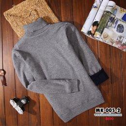 [พร้อมส่ง M,L,XL,2XL,3XL ] [MK-005-2] เสื้อคอเต่าลองจอนชายสีเทา ด้านในซับขนวูลนุ่มๆใส่กันหนาวอุ่นมาก