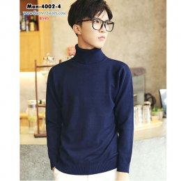 [พร้อมส่ง M,L,XL,2XL ] [Man-4002-4] เสื้อคอเต่าไหมพรมผู้ชายสีน้ำเงิน ผ้าหนานุ่มใส่สบายค่ะ