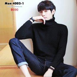 [พร้อมส่ง M,L,XL,2XL] [Man-4003-1] เสื้อคอเต่าไหมพรมผู้ชายสีดำ ถักลายสวย ผ้าหนานุ่ม ใส่กันหนาวอย่างดี