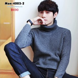 [พร้อมส่ง M,L,XL,2XL] [Man-4003-2] เสื้อคอเต่าไหมพรมผู้ชายสีเทา ถักลายสวย ผ้าหนานุ่ม ใส่กันหนาวอย่างดี