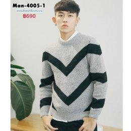 [พร้อมส่ง M,L,XL,2XL] [Man-4005-1] เสื้อไหมพรมผู้ชายสีเทาลายดำ เป็นเสื้อคอกลมไหมพรมกันหนาว