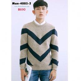 [พร้อมส่ง M,L,XL,2XL,] [Man-4005-2] เสื้อไหมพรมผู้ชายสีน้ำตาลลายน้ำเงิน เป็นเสื้อคอกลมไหมพรมกันหนาว