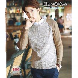 [พร้อมส่ง M,L,XL,2XL] [Man-8003-3] เสื้อไหมพรมคอกลมชายสีครีมตัดต่อแขน ผ้าไหมพรมเนื้อหนาใส่กันหนาวดี