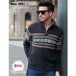 [พร้อมส่ง L  ] [Man-9001-1] เสื้อไหมพรมกันหนาวผู้ชายสีดำแต่งลาย ผ้าหนานุ่มใส่กันหนาวได้ดีค่ะ